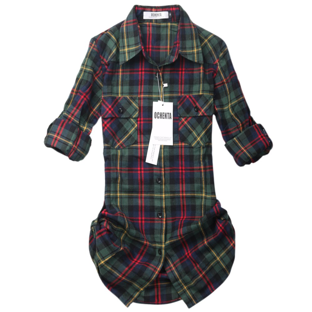 OCHENTA Women's Mid Long Style Roll Up Sleeve Plaid Flannel Shirt