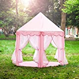 ONMIER Pink Princess Castle Kids Play Tent, Children Playhouse, Great Birthday Gifts For 1-10 Years Old Kids Toys, Indoor And Outdoor Use, (LED Light Not Include)