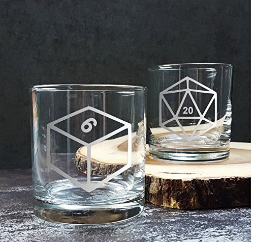 Cocktail Dice - Polyhedral Critical Role D20 Game Dice | Etched Whiskey Glass Set of Six