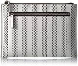MILLY Stripe Perforated Flat Clutch, White
