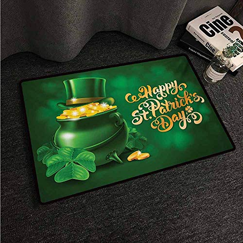 HCCJLCKS Modern Door mat St. Patricks Day Large Pot of Gold Leprechaun Hat and Shamrocks Greetings 17th March with Anti-Slip Support W35 xL59 Gold and Emerald]()