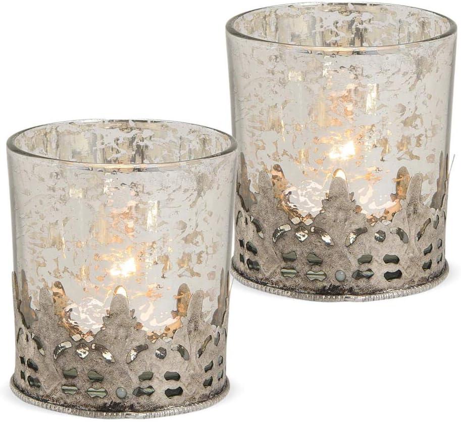 Teelichtglas Windlicht Orientalisch Marokko /& Metalldekor silber antik 9 cm