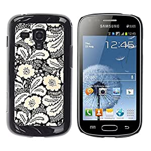 Be Good Phone Accessory // Dura Cáscara cubierta Protectora Caso Carcasa Funda de Protección para Samsung Galaxy S Duos S7562 // Ink White Black Floral Pattern Stylish