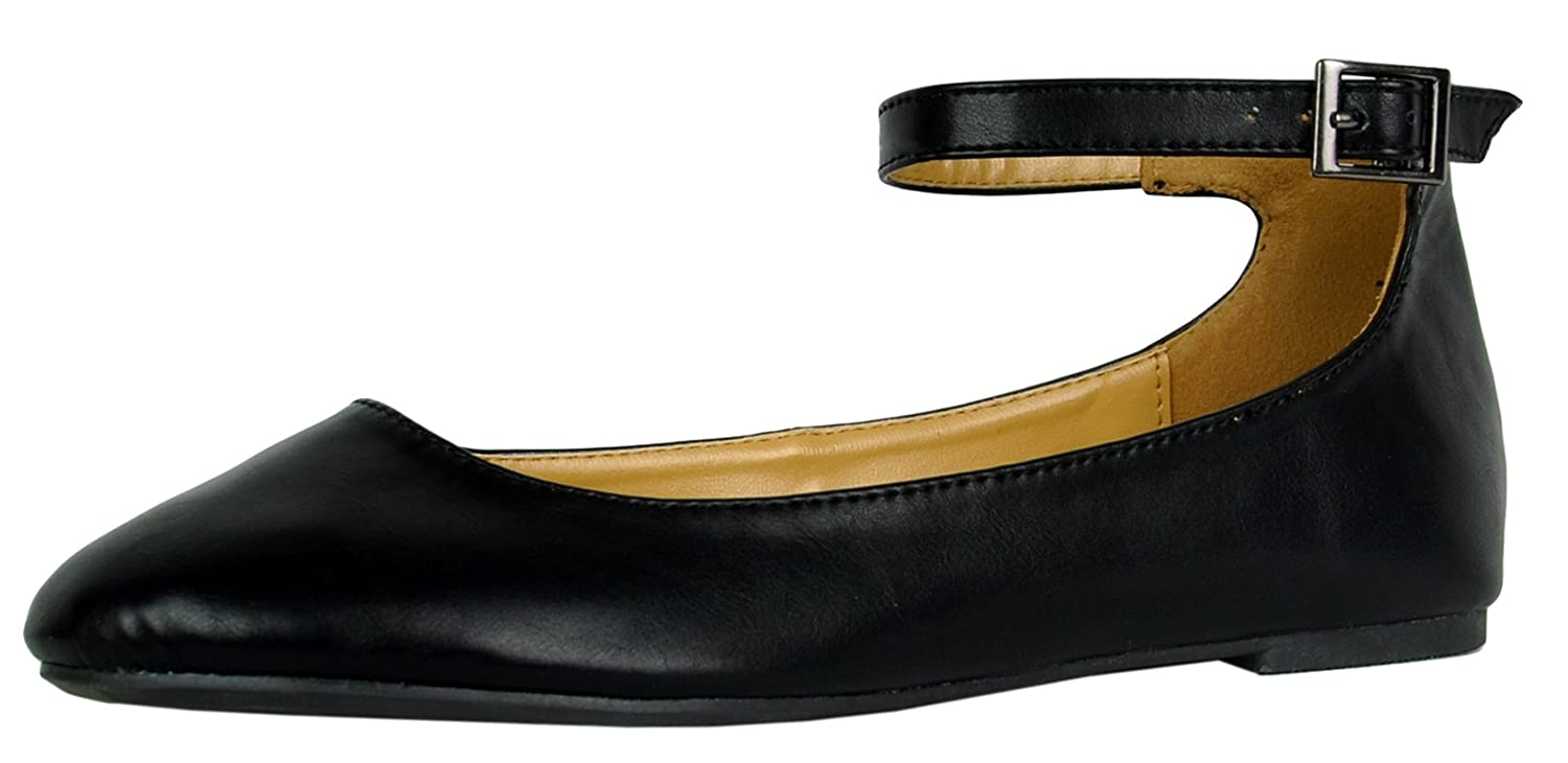 Cambridge Select Women's Buckled Strappy Ankle Closed Round Toe Ballet Flat B078WYVND7 7.5 B(M) US|Black