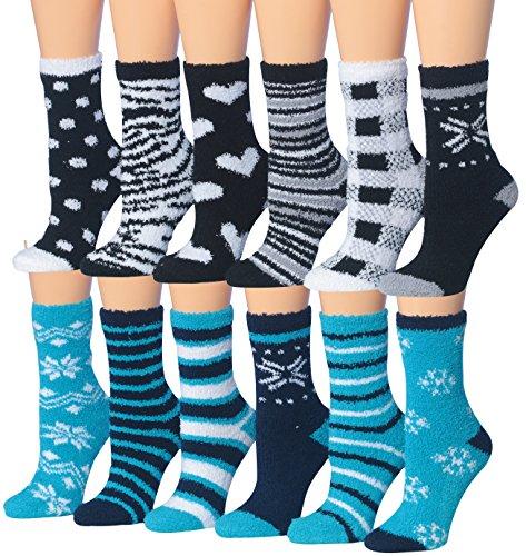 - Tipi Toe Women's 12-Pairs Snowflake Winter Prints Anti-Skid Fuzzy Winter Crew Socks, (sock size 9-11) Fits shoe size 6-9, (FZ15-16)