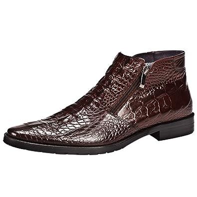 31b12fae146 Amazon.com | Santimon Mens Boot Zipper Ankle Dress Patent Leather Formal  Boots Fashion Black Red | Chelsea