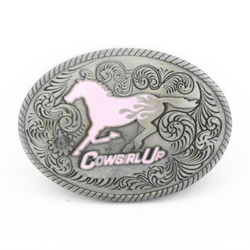 Cowgirl Up Pink Horse Oval Belt Buckle changsheng