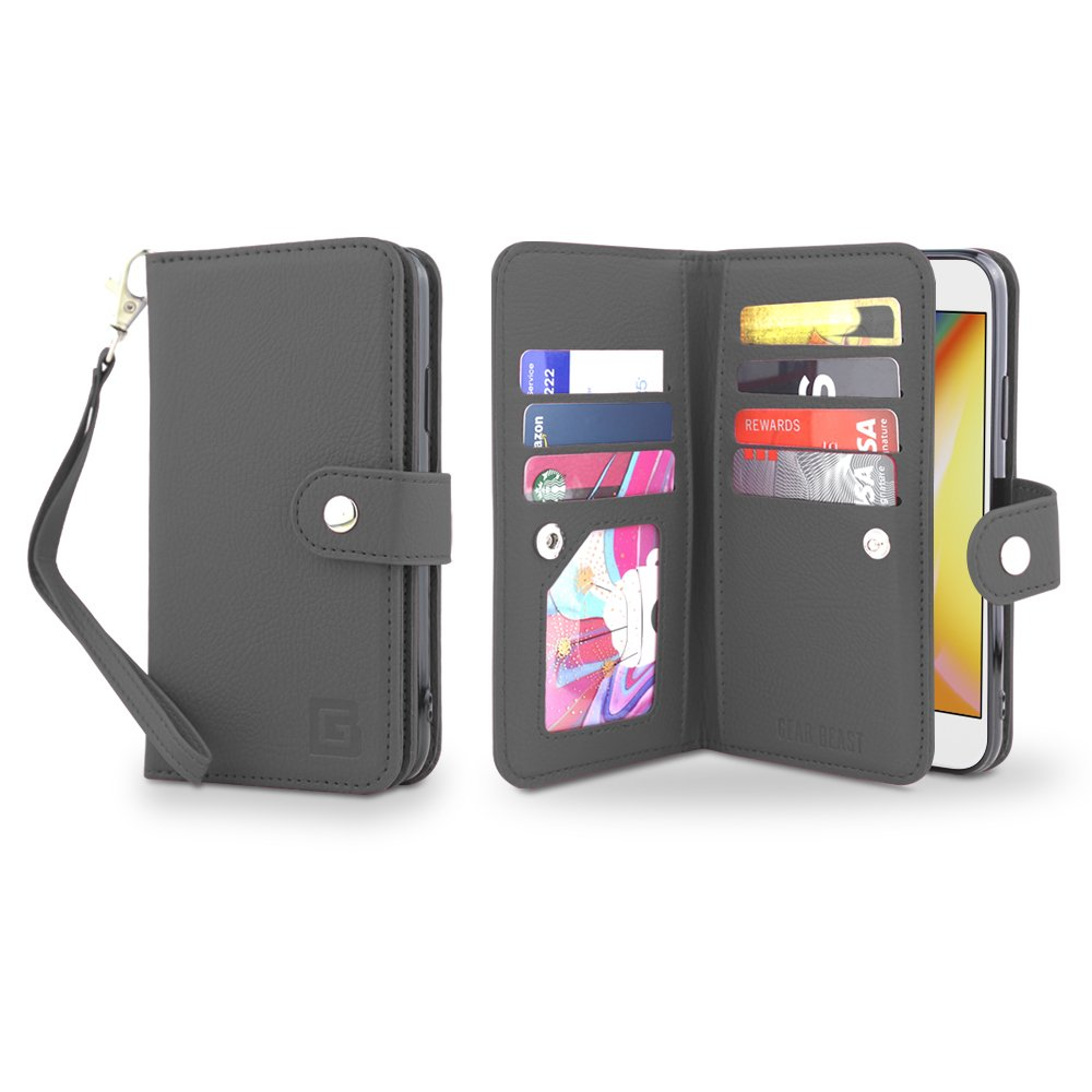 Flip Cover Dual Folio Slim Protective PU Leather Case 7 Slot Card Holder Including ID Holder Plus Cash//Receipt Pockets for Men and Women Bonus Screen Protector Gear Beast iPhone X Wallet Case