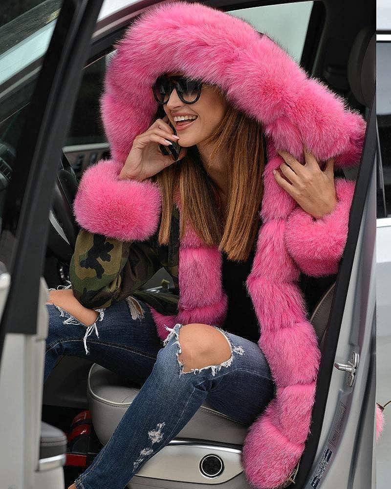 Aox Femme Manteau Hiver Chaud Fausse Fourrure Veste Épais Blousons Duvet Capuche Jaquette Militaire Style Parka Doux Anorak Capote Pink Faux Fur