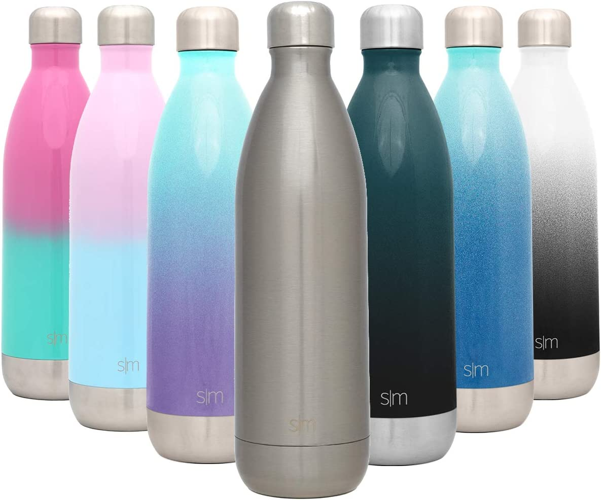 Simple Modern Wave 1ml Termo Botella Agua Acero Inoxidable, Botella termica Mantiene el Frio por 28 Horas Aislada al Vacío Doble Pared para Deporte café o Viaje -Acero Inoxidable