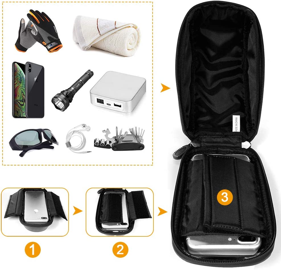 Bike Bicycle Phone Mount Bags - Waterproof Front Frame Top Tube Handlebar Bags with Touch Screen Phone Holder Case Sports Bicycle Bike Storage Bag Cycling Pack Fits iPhone 7 8 Plus xs max (Black) : Sports & Outdoors