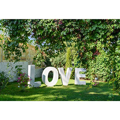 AOFOTO 5x3ft Garden Outdoors Wedding Decorations Backdrop Big White Letters Love Sign on Green Grass Valentine