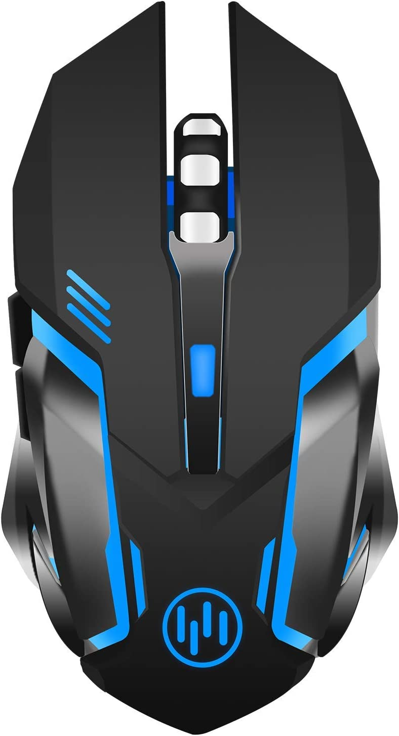 TENMOS X96 Ratón Gaming inalámbrico Recargable, Silenciosa óptico con Retroiluminación Raton Wireless Ordenador, 3 DPI ajustables, Auto dormir, 6 botones para MAC PC Notebook Portátil