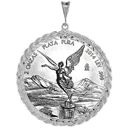(Sterling Silver 2 oz Pancho Villa Rope Bezel 47 mm Coins Prong Back Diamond Cut)