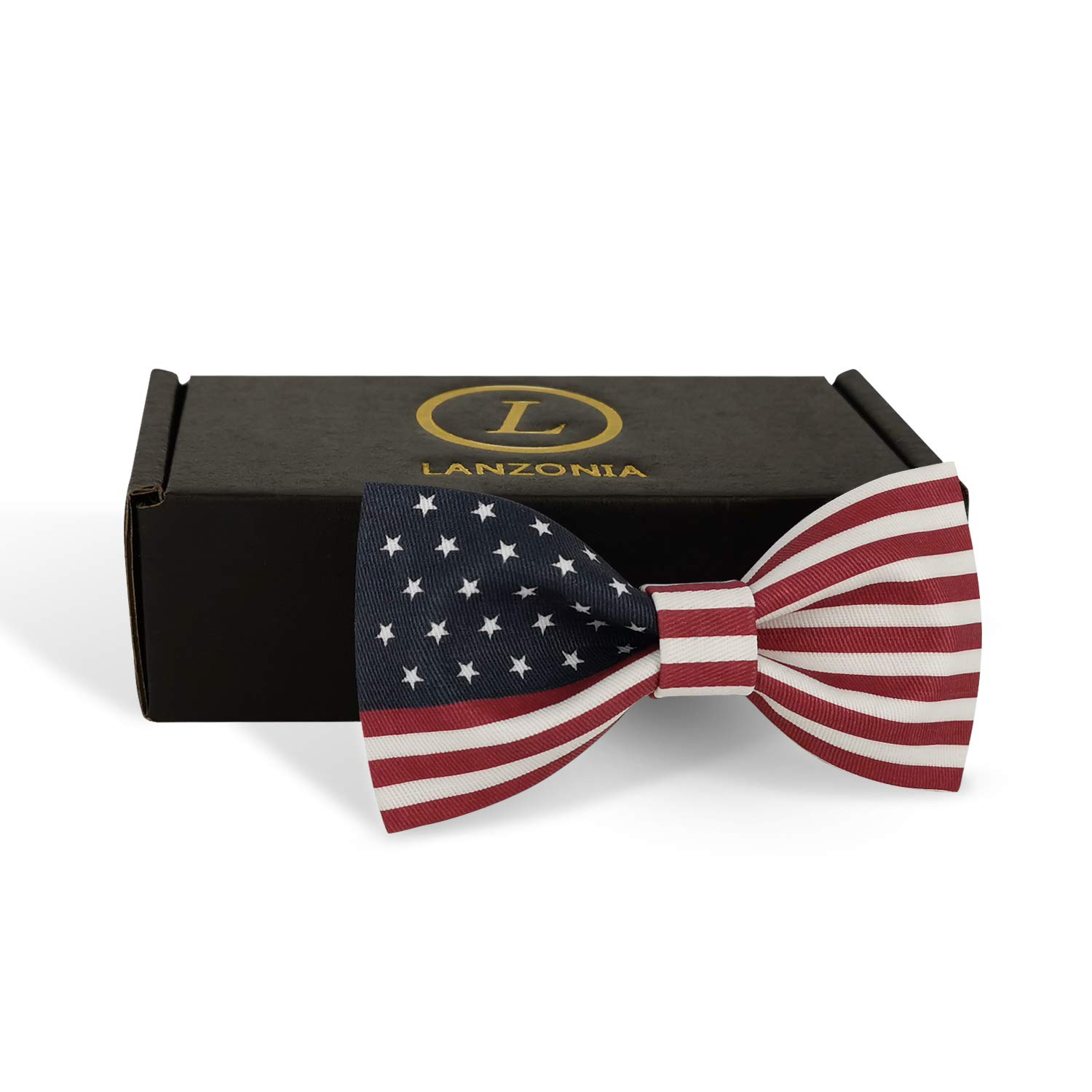American Flag USA Lanzonia Boys Bowtie Novelty U.S Patterned Bow Tie for Kids