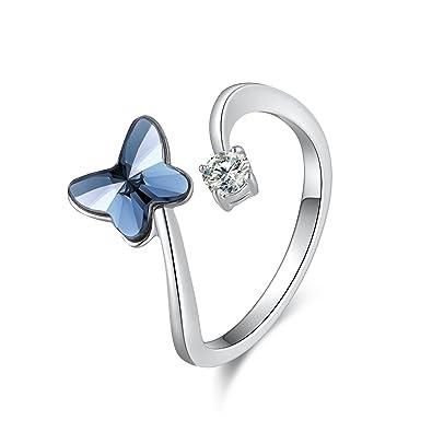 Swarovski Elements Ring Blue Love Butterfly Stone Ring with Swarovski  Crystal 094cfbce23