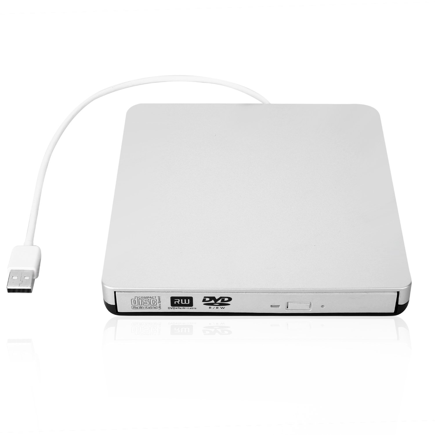 External USB 2.0 DVD Drive, DVD-RW CD-RW Writer Burner Player with Classic Silvery for MacBook Air, MacBook Pro, Mac OS, PC Laptop