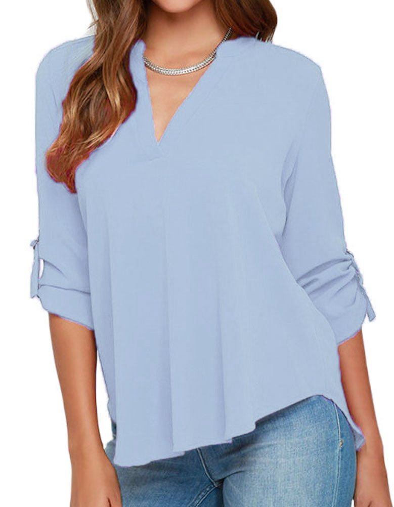 roswear Women's Casual V Neck Cuffed Sleeves Solid Chiffon Blouse Top Baby Blue XX-Large