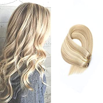 Human Hair Extensions Clip In Dirty Blonde Highlights 18 Inch Remy Straight Hair For Fine Hair Full Head