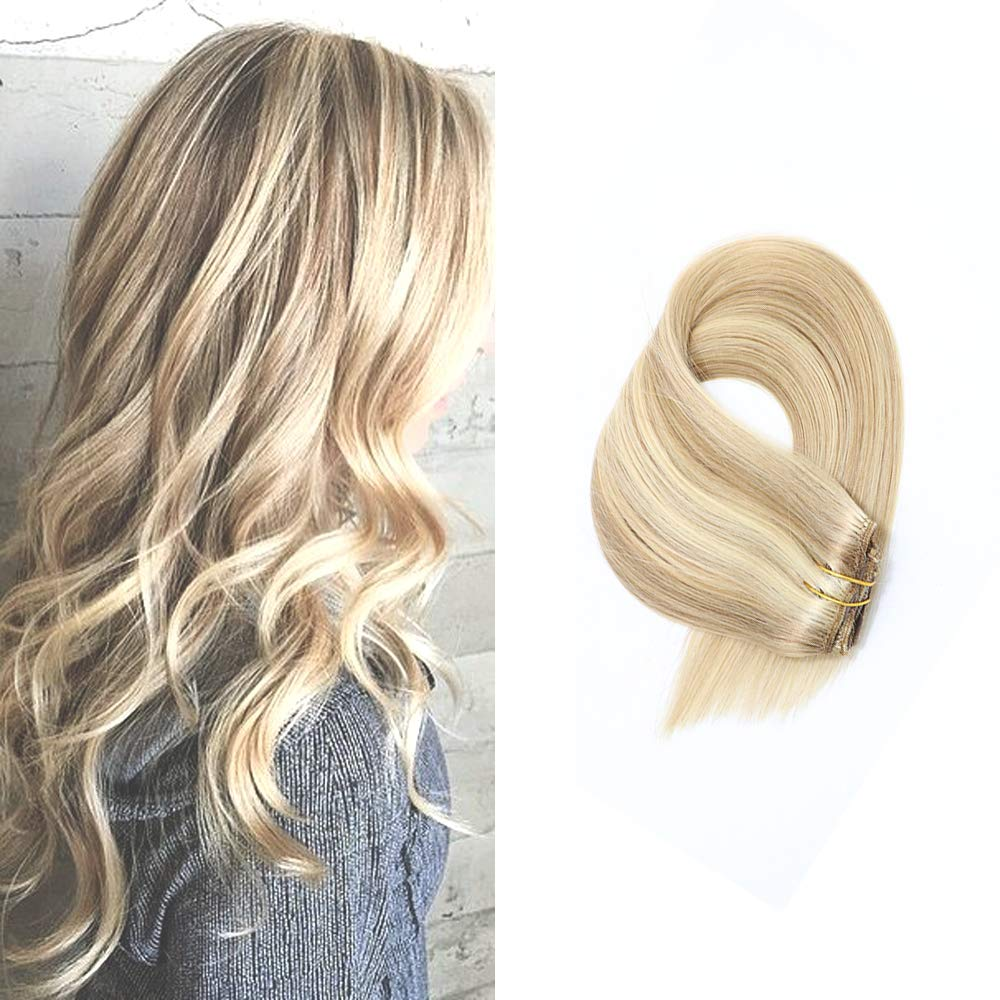 Amazon Human Hair Extensions Clip In Dirty Blonde Highlights