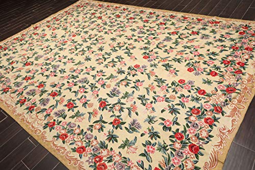 9'x12' Light Gold Blue Green, Lavender, Rose, Brown, Multi Color Hand Woven French Aubusson Needlepoint Area Rug Wool Traditional Chainstitch Design Oriental Rug - ()