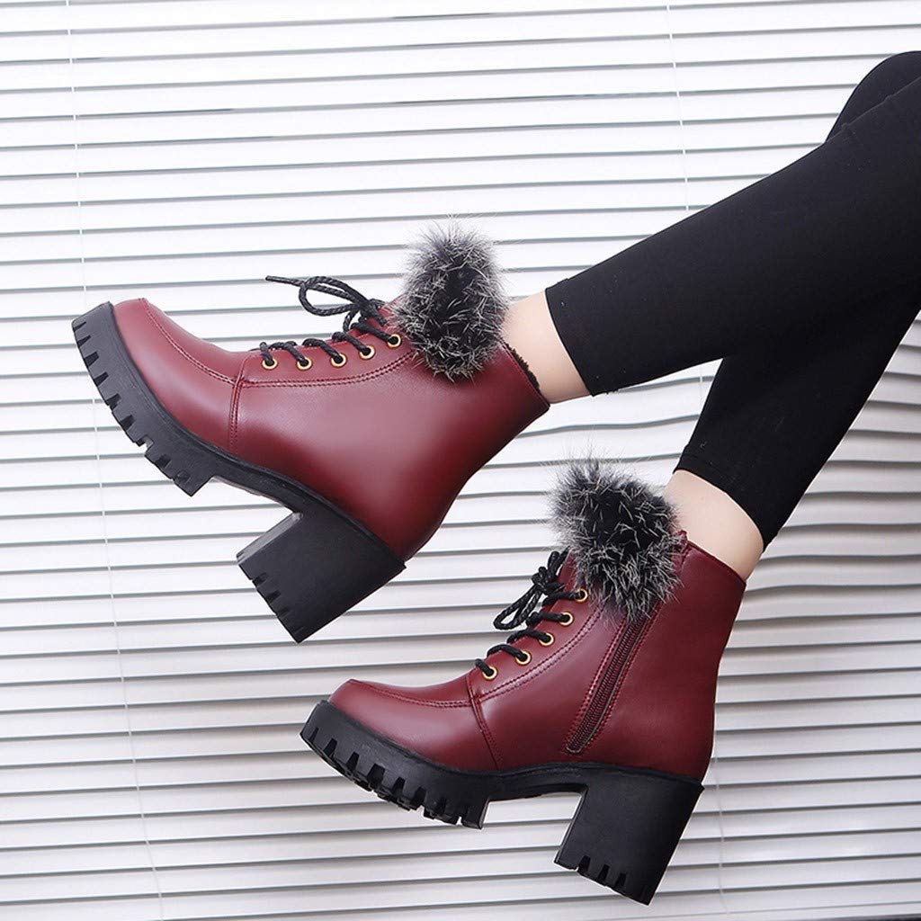 Red Ta Women Fashion Retro Solid Color Warm Thick High Heel Ankle Short Boots Round Toe Shoes