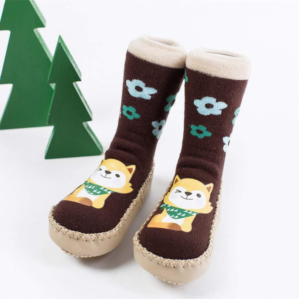NUWFOR Newborn Baby Boy Girl Cartoon Xmas Floor Socks Anti-Slip Warm Baby Step Socks(Coffee,18M-24Months) by NUWFOR (Image #2)