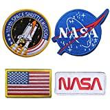 WZT 4 Pcs Tactical Flag Patch - Combination USA NASA Patch Embroidered Morale Lot Military Embroidered Patches