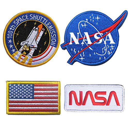 WZT 4 Pcs Tactical Flag Patch - Combination USA NASA Patch Embroidered Morale Lot Military Embroidered Patches for $<!--$12.88-->