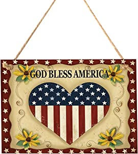 LIOOBO God Bless America 4th of July Wooden American Flag Wall Hanging Plaque Sign for Patriotic Independence Day Fourth of July Decorations Ornaments(Heart Flag Pattern