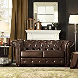 Lindenfield Marbled Bonded Leather Tufted Rubberwood Wood Chesterfield Loveseat with Bun Feet by Home Creek