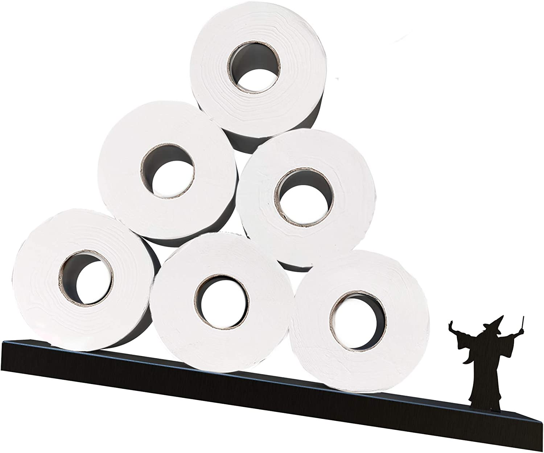 Toilet Paper Storage - Merlin the Wizard Shelf for Toilet Paper Rolls - Bath Decor - Tilted Toilet Paper Rack - Bathroom Accessories - Black Toilet Paper shelf - Unique Tissue Paper Rolls Storage