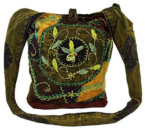 Hombro Bolsa cm Hippie Verde Púrpura Hippie Goa Adultos 40x35x25 de Guru Sadhu Shop Batik Bolsa Bolsa Sadhu Bolsa la Unisex Algodón Bolso de appYzq