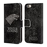 Official HBO Game Of Thrones Stark Dark Distressed Sigils Leather Book Wallet Case Cover For Apple iPhone 6 / 6s
