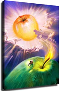 vladimir kush apple painting Poster aesthetics home kitchen office wall decoration and painting canvas print decoration-515 (With Frame,16x20 inch)
