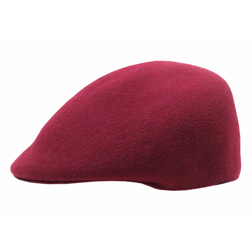 Lujuny 100% Wool Felt Pillbox Beret Hat Classy Painter Cap For Women Girls Boys (Wine Red)