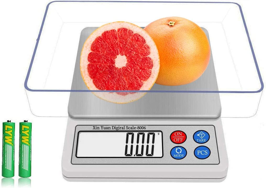 Food Scale 600g/0.01g Digital Kitchen Small Size Electronic Weight Scale|Multi-functionals Gram & Ounces Portable Mini Jewelry Scale Ultra Slim with High Precision, 1 Tray, 6 Units, 2 Batteries