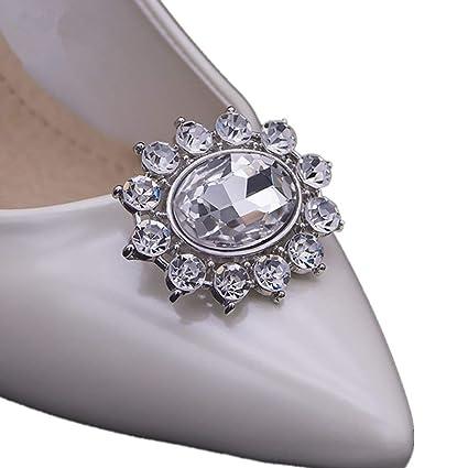 d5eb65d405de8 Casualfashion 2Pcs Sparkly Removable Oval Egg Shape Crystal Shoe Clips  Accessories for Women Bride Wedding Prom Party Shoes Decoration (White)