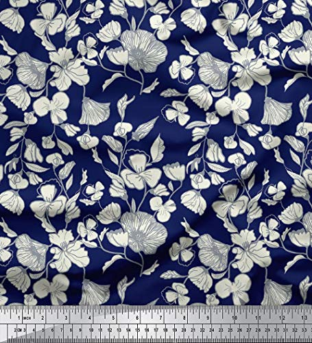 - Soimoi Cotton Voile Fabric Floral Print Craft Material 58 Inches Wide by The Yard-Navy Blue