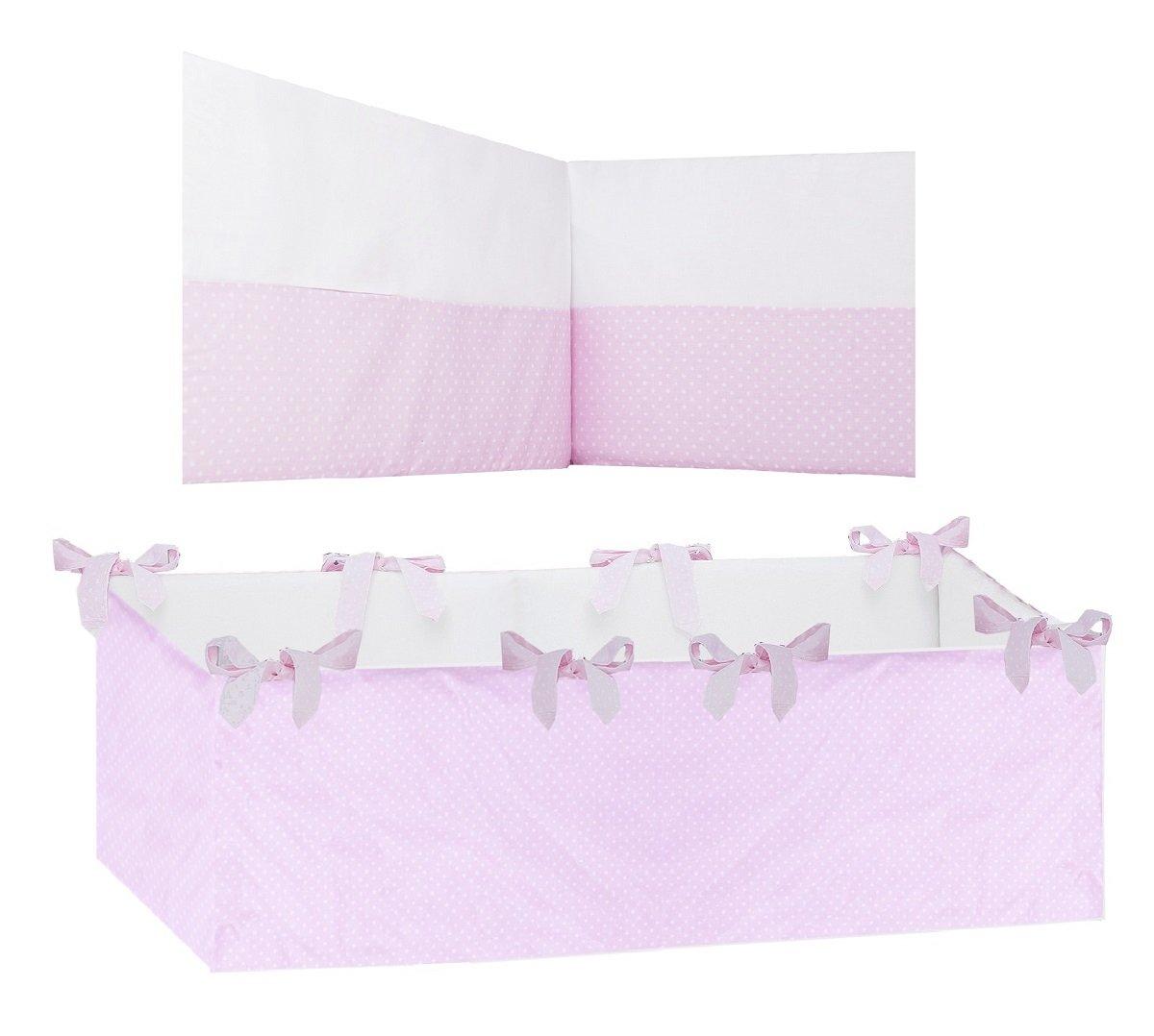 Vizaro - PARACOLPI 360° COMPLETO per Lettino (60x120cm) - 100% Cotone - Prodotto in EU con controllo di sostanze nocive - Prodotto SICUROCollezione Rosa E Bianco
