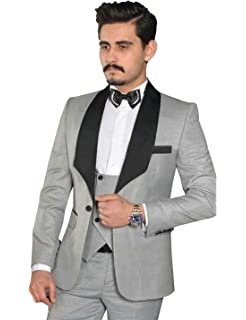 QZI Mens Slim fit Three Piece Suit for One Button Casual Formal Wedding Tuxedo