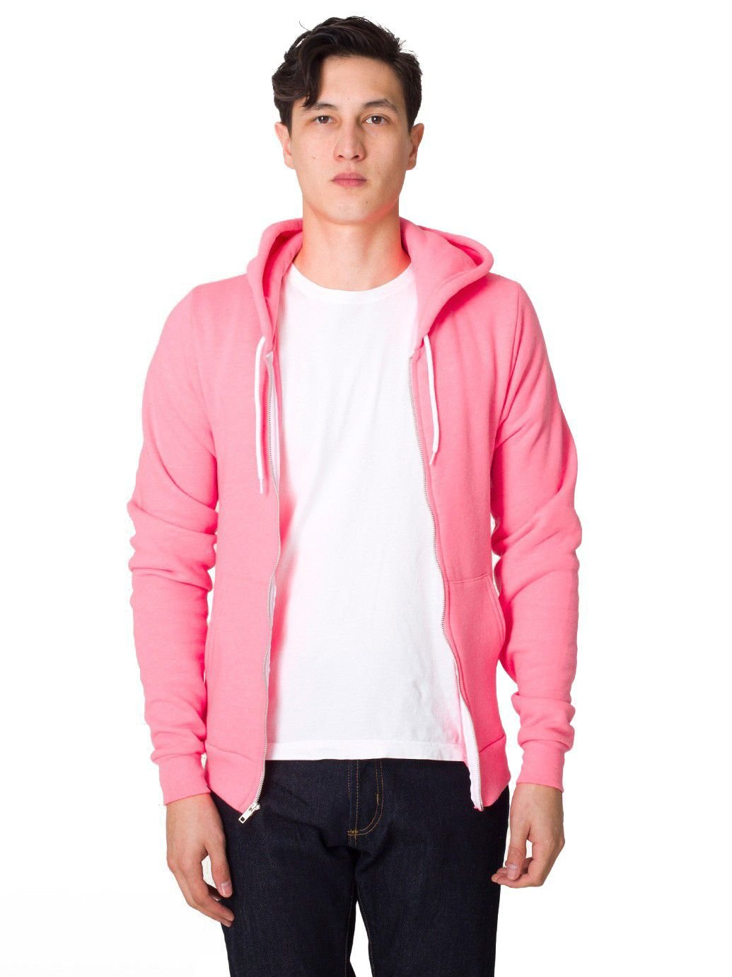 American Apparel mens Unisex Flex Fleece Zip Hoodie(F497)-NEON HTHR PINK-L by American Apparel