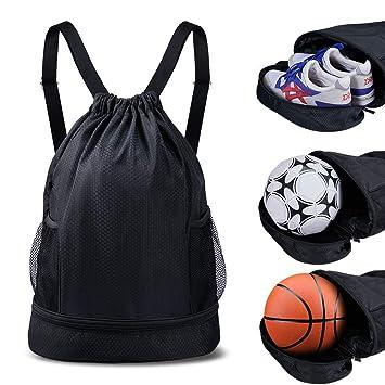 SKL Mochila con Bolsa de cordón con Compartimiento para Zapatos de ...