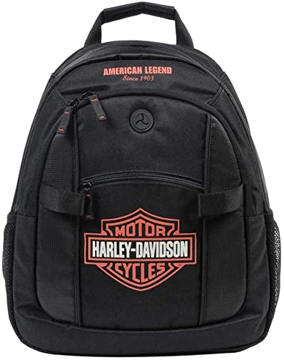 Harley-Davidson Bar Shield Day Back Pack, Orange Logo, Black BP1968S-ORGBLK
