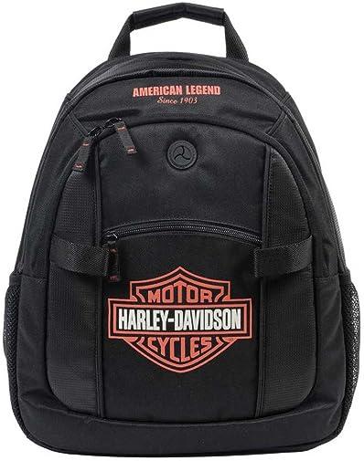 Harley-Davidson Bar Shield Day Back Pack, Orange Logo, Black BP1968S-ORGBLK