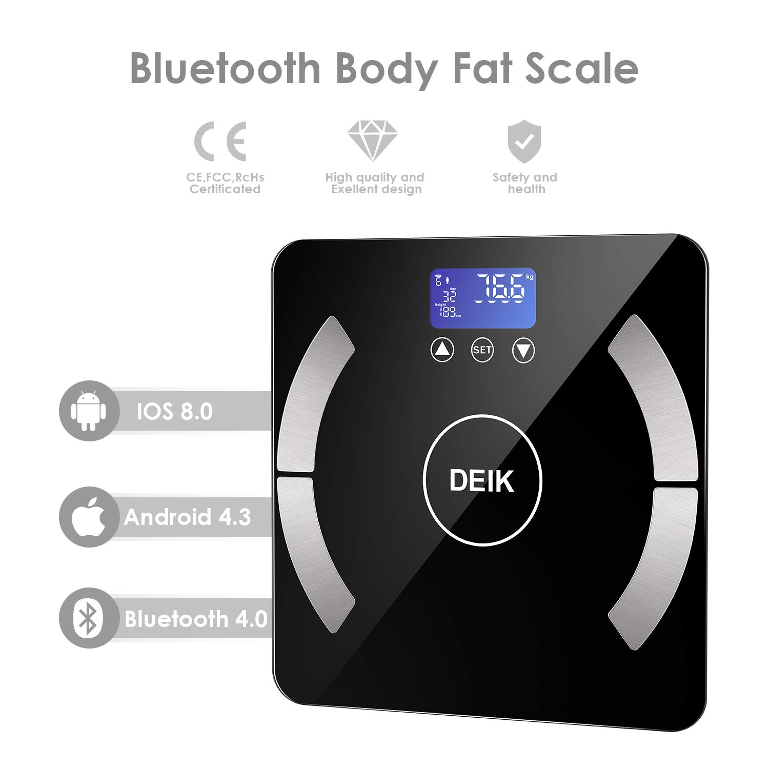 DEIK Body Fat Scale, Bluetooth Bathroom Scale with Smartphone APP, 18 Body Composition Analysis, High Precision Sensors, LCD Backlit Display, Include ...