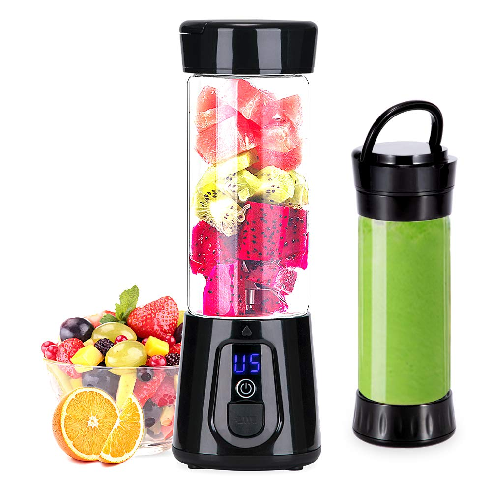 Portable Blender YouJiaBest 1.7 Cup with Easy Clean Glass Stainless Steel 6-Blade and Detachable Cup.USB Rechargeable Small Blender for Shakes and Smoothies by YoujiaBest (Image #1)