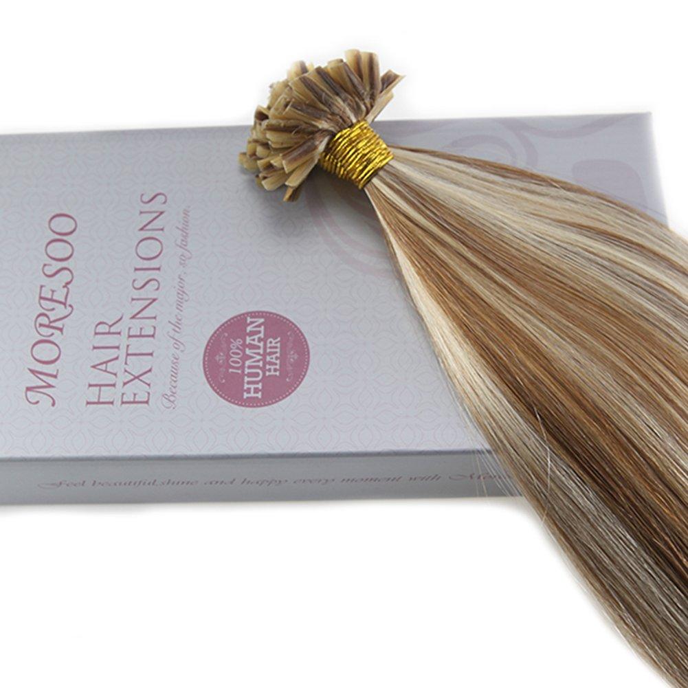 Moresoo Extensiones de Pelo Remy Natural Marron  6 con Rubia Blanca  60 50g  Extensiones Real Natural U Tip Human Hair Extensions 18Pulgadas 45cm   Amazon.es  ... 9643ab2cd027