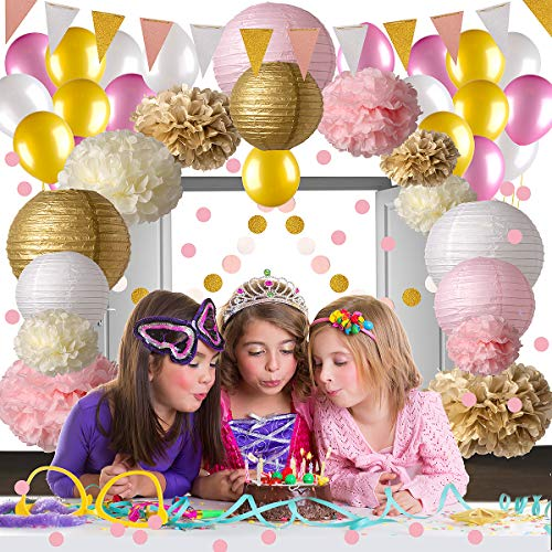 Pink and Gold Party Decorations, 50 pc Pink