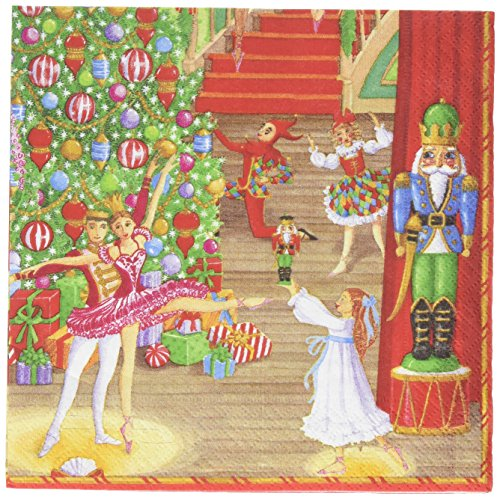 (Entertaining with Caspari 13430L Christmas Ballet Luncheon Napkin, 20 Pack, Multicolored)
